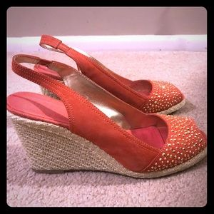 Anne Klein Shoes - Orange w gold studs espadrille wedge
